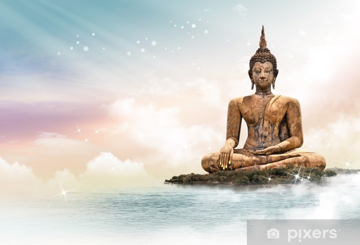 Buddha statue over scenic lighting background Vinyl Wall Mural - Styles