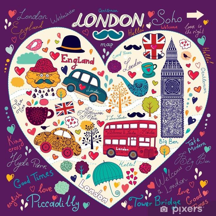 Fototapeta winylowa Zestaw symboli london - Miasta europejskie