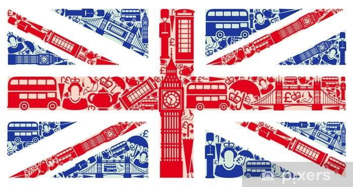 Fototapeta samoprzylepna Flaga Anglii z symboli Wielkiej Brytanii i Londynie -