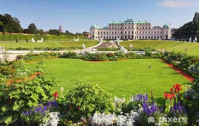 Sticker Pixerstick Vienne - Palais du Belvédère avec des fleurs - Autriche - Europe