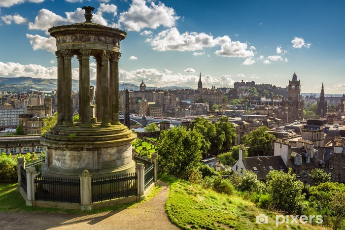 View of the castle from Calton Hill in sunny day Vinyl Wall Mural - Themes