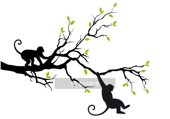 monkeys on tree, vector Wall Decal - Wall decals