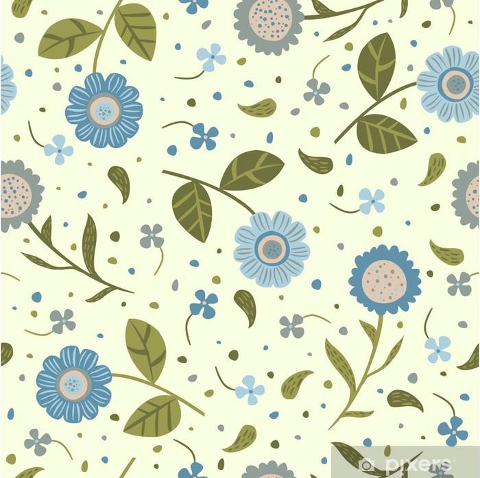 Pixerstick Aufkleber Nahtloser Hintergrund mit niedlichen blauen Blumen - Stile