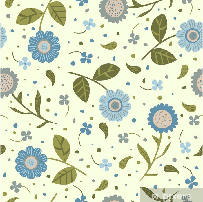 Vinyl-Fototapete Nahtloser Hintergrund mit niedlichen blauen Blumen - Stile