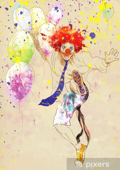 Sticker Pixerstick Happy clown - Divertissements