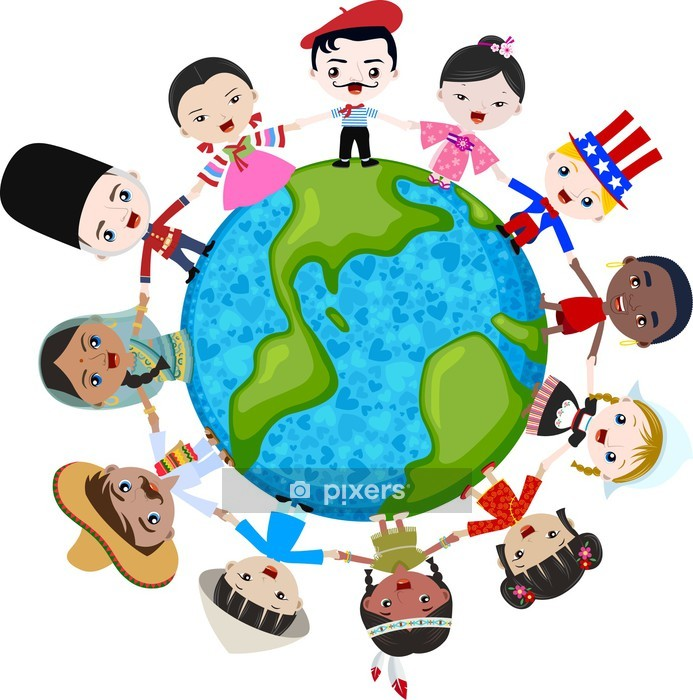 multicultural children on planet earth, cultural diversity Wall Decal - Wall decals