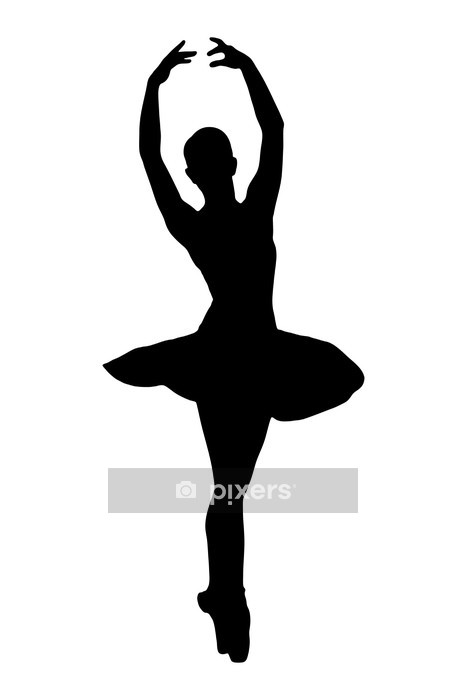 A silhouette of a ballerina dancer making a ballet Wall Decal - Women