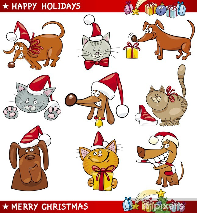 Cartoon Set of Christmas Cats and Dogs Vinyl Wall Mural - International Celebrations