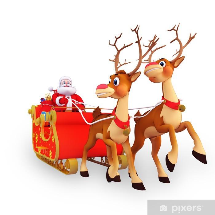 Image Du Pere Noel Sur Son Traineau.Papier Peint Illustration Du Pere Noel Est Avec Son Traineau Et Les Cadeaux
