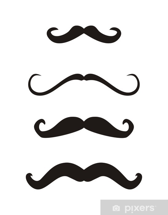 Set of curly vintage retro gentelman mustaches vector Pixerstick Sticker - Moustache