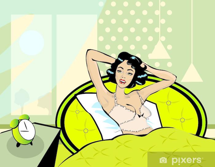 Fototapeta Winylowa Obudzić Ilustracji Kobieta Budzi Się Z łóżka Rano