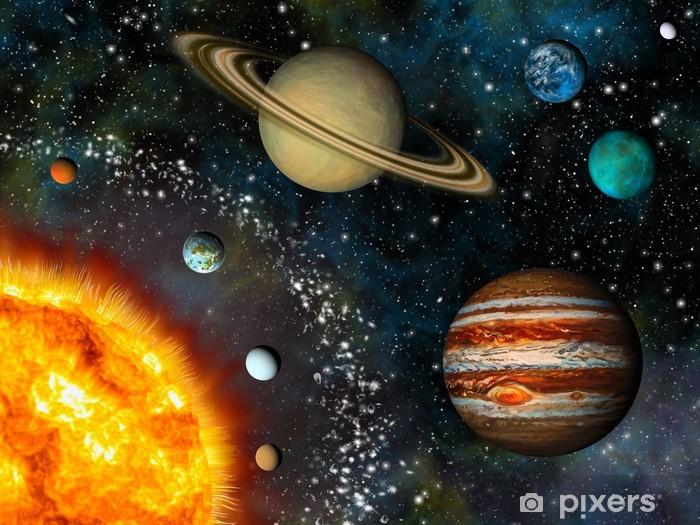 Vinyl Fotobehang Realistische Zonnestelsel scherm bevat de zon en negen planeten - iStaging