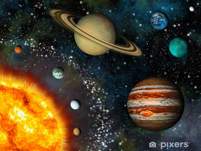 Realistic Solar System display contains the Sun and nine planets Pixerstick Sticker - iStaging