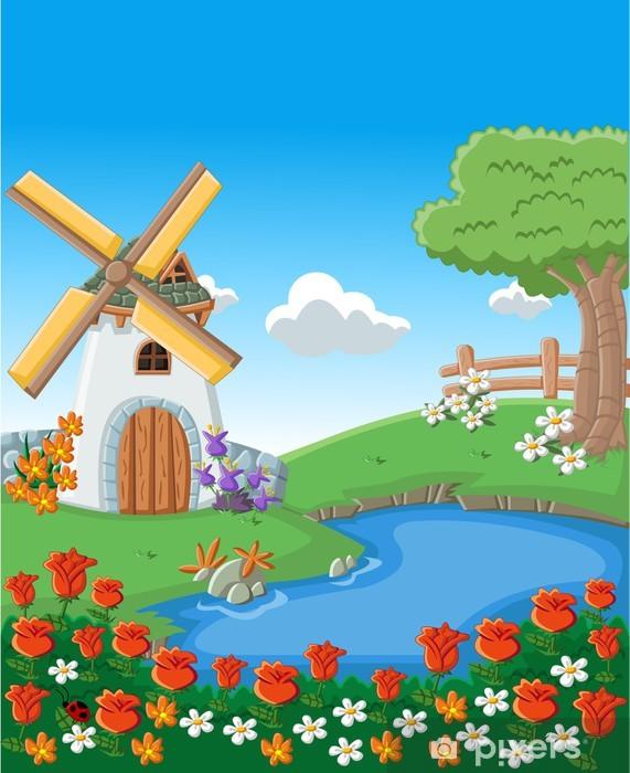 Fototapeta winylowa Zielony ogród z pięknymi kwiatami wiosny, jezioro i wiatrak - Lasy
