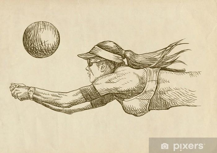 Vinilo Pixerstick Jugador de voleibol - Dibujo - Voleibol