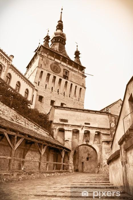 Sticker Pixerstick Tour de l'horloge médiévale à la citadelle de Sighisoara, en Transylvanie, Roman - Europe