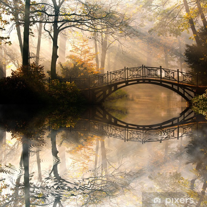 Vinyl Fotobehang Autumn - Oude brug in het najaar mistige park -