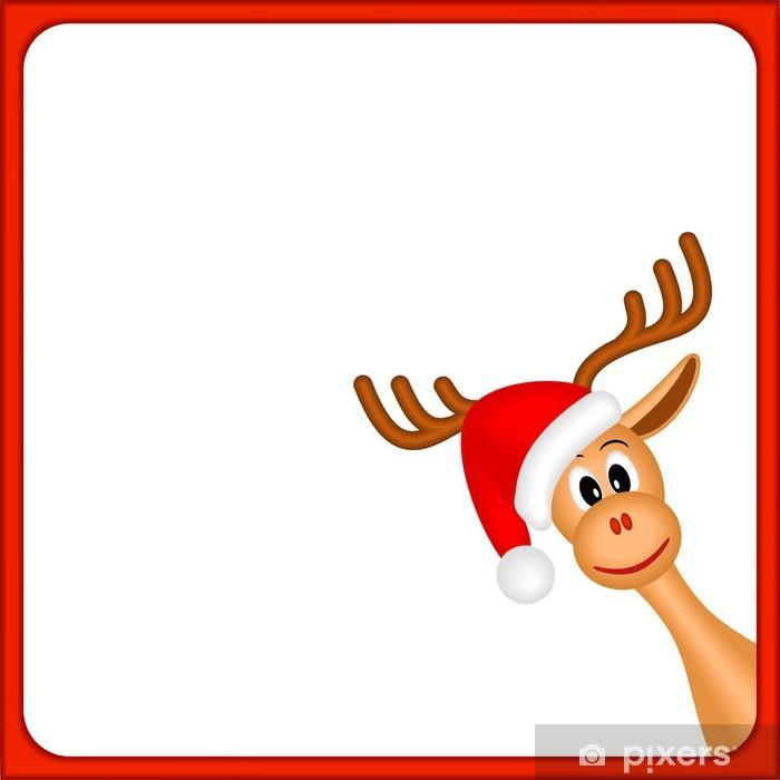 Christmas Reindeer.Christmas Reindeer In Empty Frame With Red Border Wall Mural Vinyl
