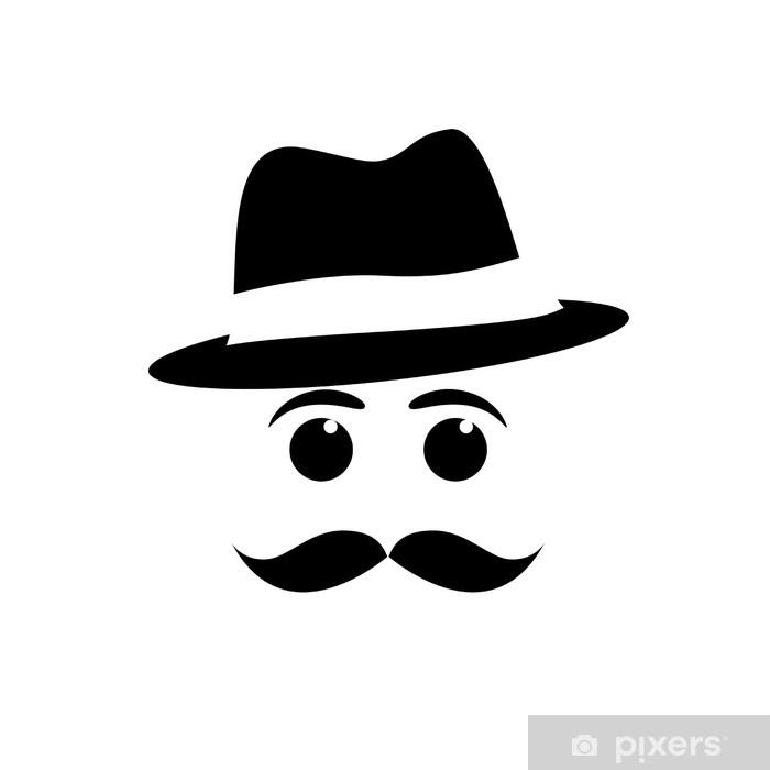 Pixerstick Sticker Logo snor en hoed # Vector - Snor
