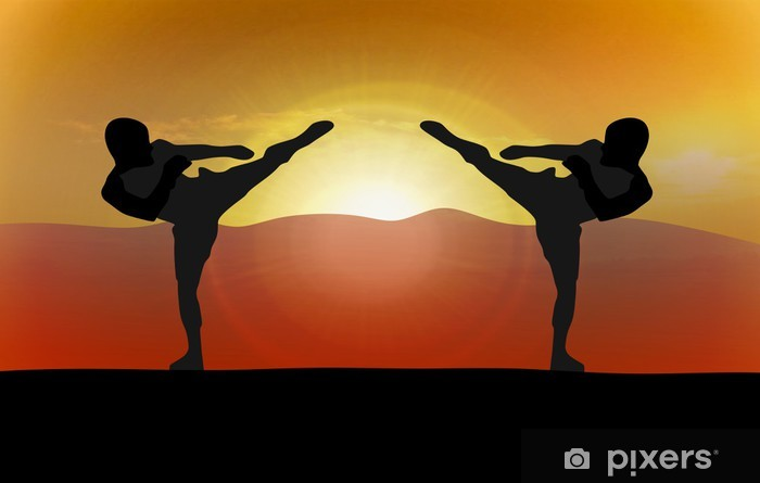 Sticker Pixerstick Silhouette illustration - deux combattants - Thèmes