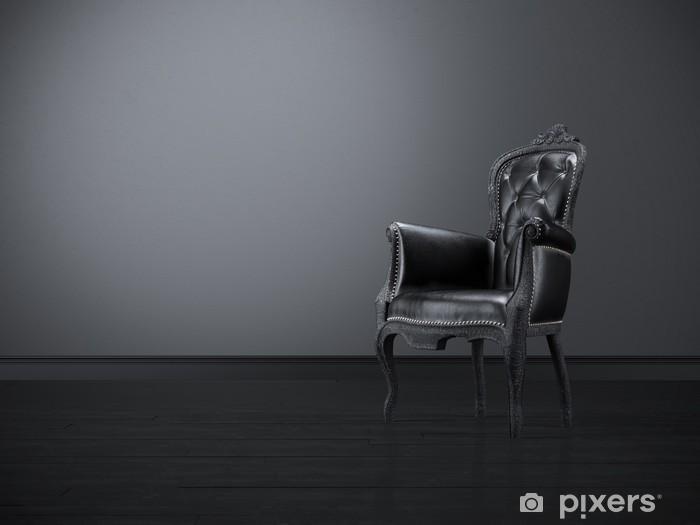 Vinilo Pixerstick Silla de negro de la vendimia en el cuarto oscuro ...