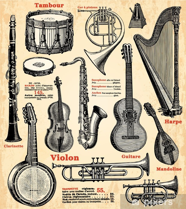 Instruments de musique Vinyl Wall Mural -