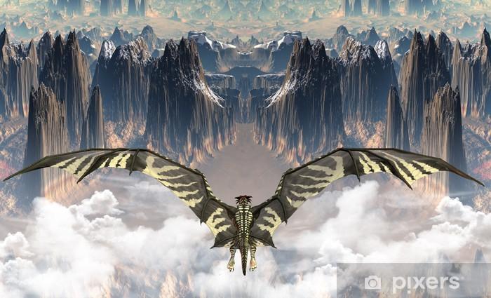 Papier peint vinyle Fantasy Land Avec Un Dragon - Thèmes