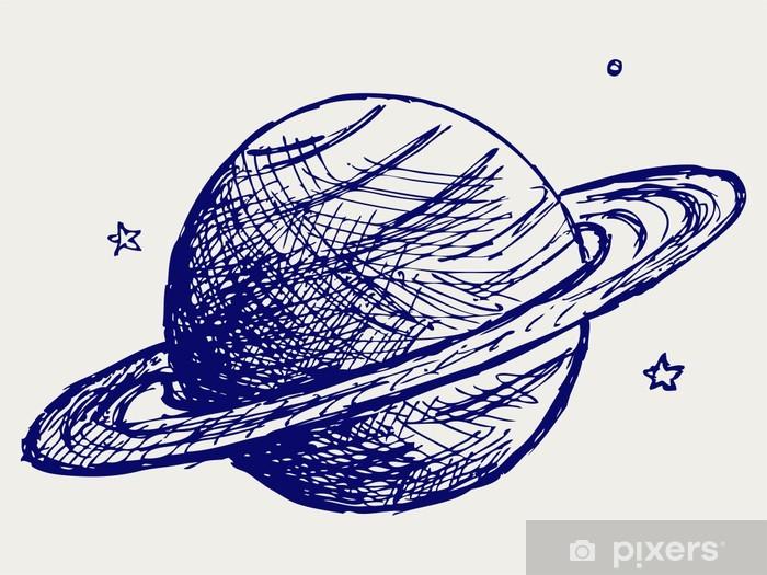 Papier Peint Autocollant Planète Saturn. Le style Doodle - Planètes