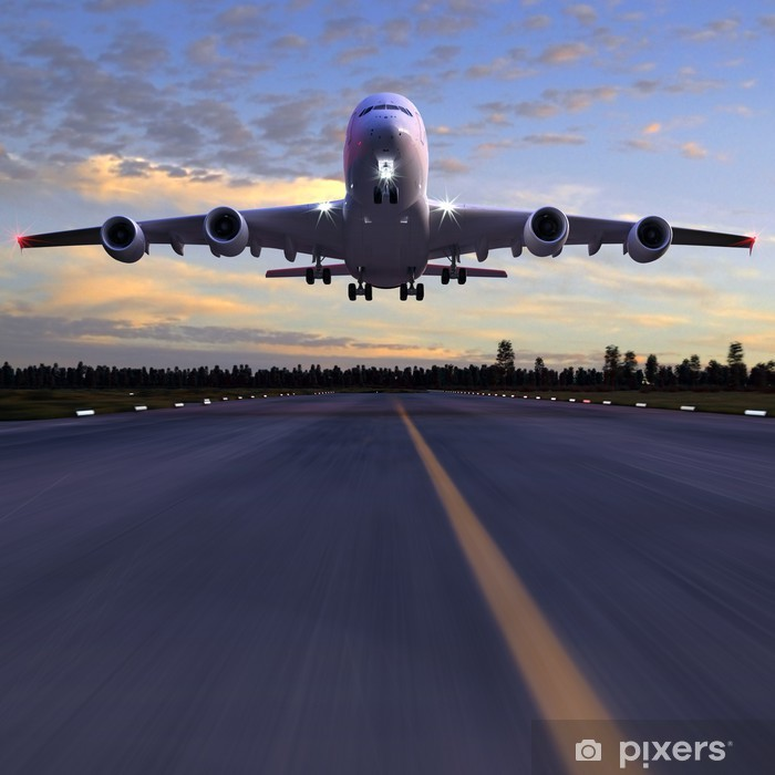 airplane landing 3D illustration Poster - Themes