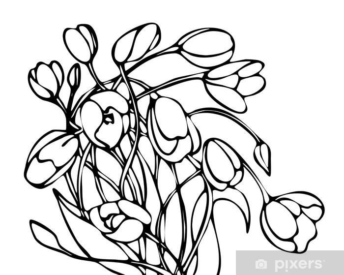 Sticker Graphiques En Noir Et Blanc Vecteur Dessin Bouquet De Tulipes Pixerstick