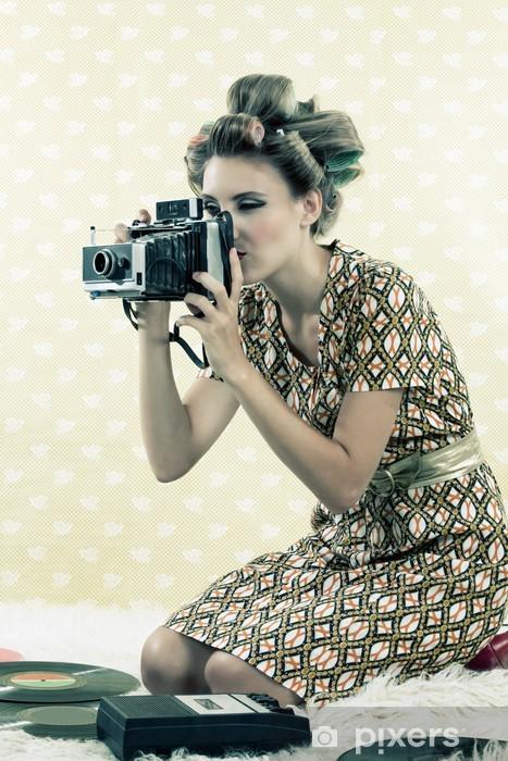 Naklejka Pixerstick Kobieta biorąc Foto - Tematy