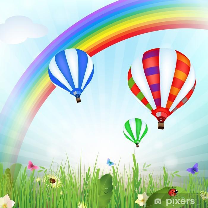Vinilo Pixerstick Paisaje de primavera con globos de aire caliente y el arco iris - Arcos iris