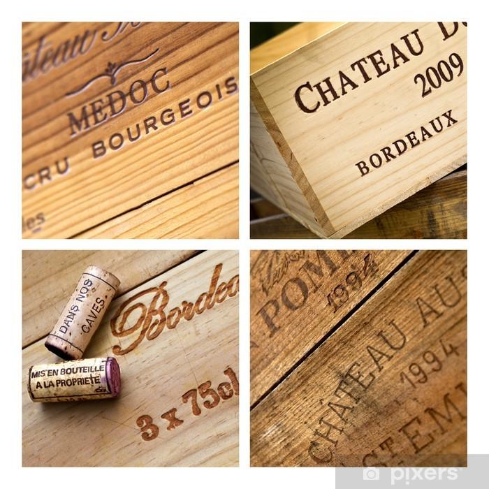 Papier peint vinyle Vin, caisse, Bordeaux, chai, cave, emballage, bois - Alcool