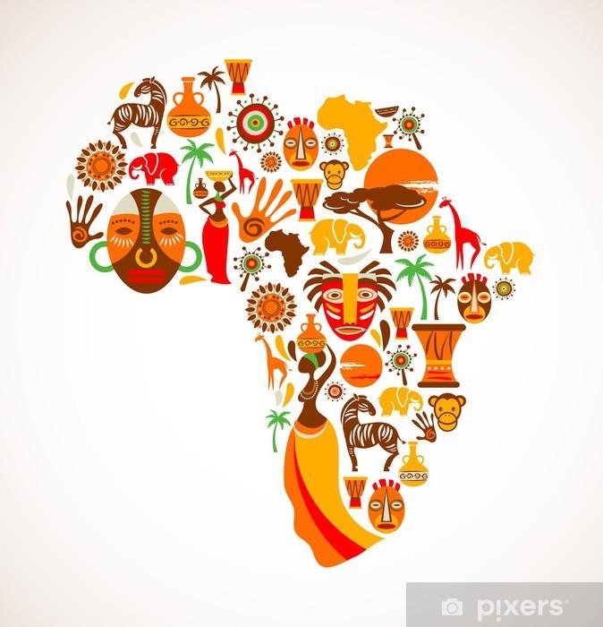 Carta da Parati in Vinile Mappa di Africa con icone vettoriali - Natura