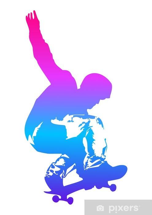 Pop art illustration of a skateboarder Pixerstick Sticker - Skateboarding