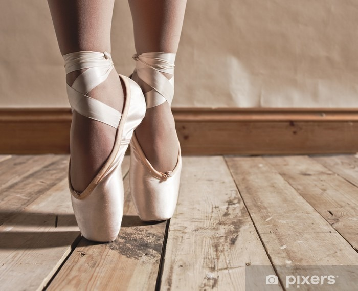 Ballet Shoes on Wooden Floor Washable Wall Mural - Ballet