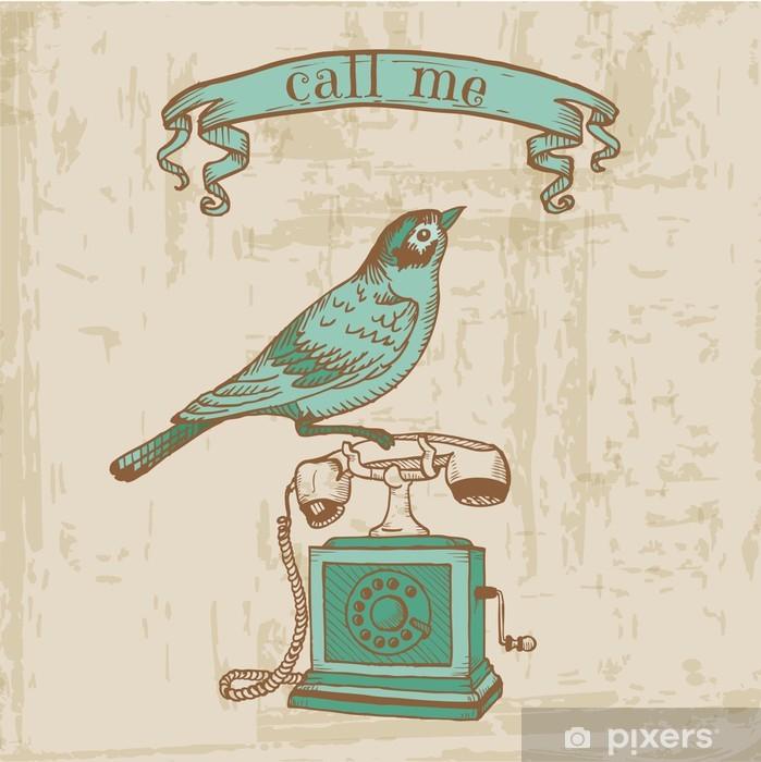 Carta da Parati in Vinile Elementi di design Scrapbook - Telefono Vintage con un uccello - Celebrazioni