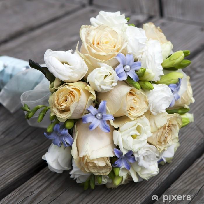 a6bc41b1c970f Fototapete Hochzeit Bouquet von gelben und weißen Rosen
