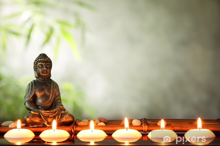 Buddha and candles Pixerstick Sticker - Themes