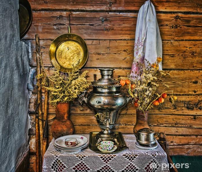 Poster Innenraum der russischen Log-Hütte mit Elementen der alten Weise des li - Haus und Garten
