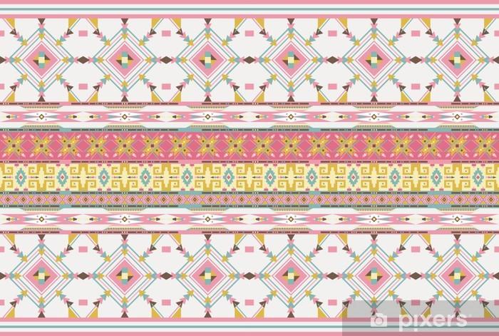 Vinilo Pixerstick Aztecas Sin Fisuras Patrón De Color De Rosa