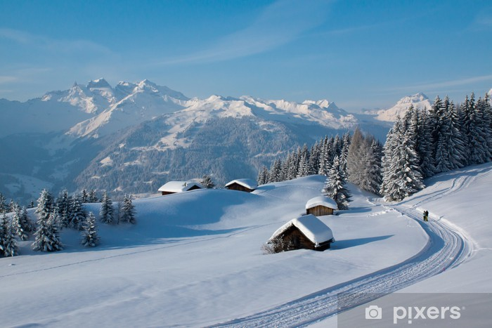 Winterwanderung in den Alpen Vinyl Wall Mural - Winter