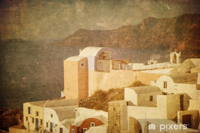 Vintage image of Oia village at Santorini island, Greece Vinyl Wall Mural - Themes