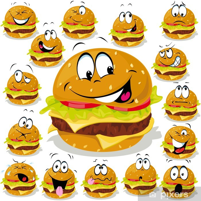 Fototapete Hamburger Cartoon Mit Vielen Ausdrücken
