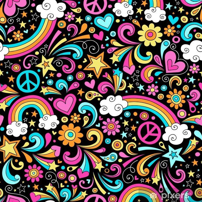 Naklejka Pixerstick Groovy Rainbows Psychedelic doodle bez szwu wzór wektor - Tematy