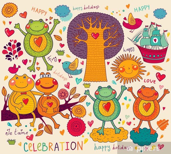 Plakat Ilustracja z zabawnych żab - Świętowanie