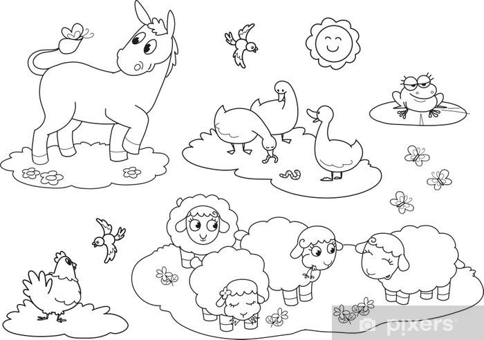 çocuklar Için çiftlik Hayvanları Boyama Duvar Resmi Pixers