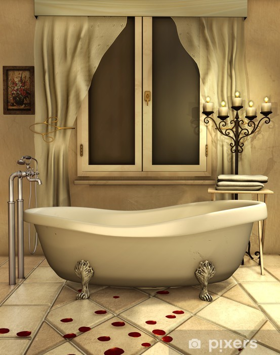 Vinilo Pixerstick Cuarto de baño con velas y pétalos de rosa ...