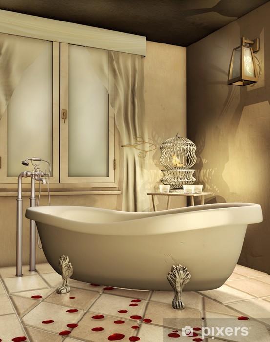 Fototapete Retro Badezimmer mit Käfig und canary • Pixers® - Wir ...