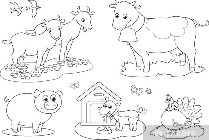 Vinilo Para Portátil Colorear Los Animales De Granja Para Los Niños De Cabra Vaca Pavo Cerdo Golondrina